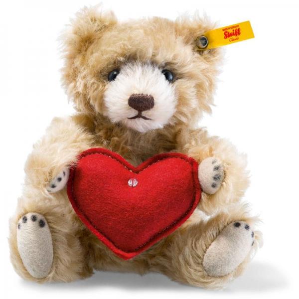 Steiff 040122 Teddybär mit Herz, Mohair, 18 cm, zimt