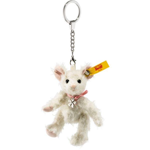 Steiff 040313 Anhänger Tiny Maus, Mohair, 10 cm, weiß