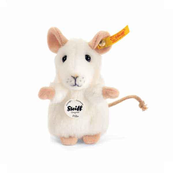 Steiff 056215 Pilla Maus, 10 cm, Webpelz, weiss, aufwartend