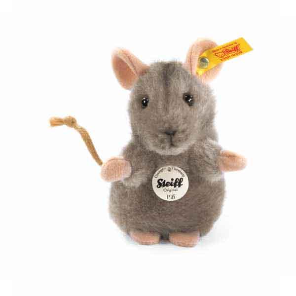 Steiff 056222 Piff Maus, 10 cm, Webpelz, grau, aufwartend