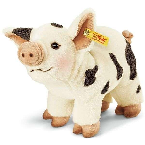 Steiff 071720 Roserl Minischwein, Webpelz, 26 cm, weiß/schwarz, stehend