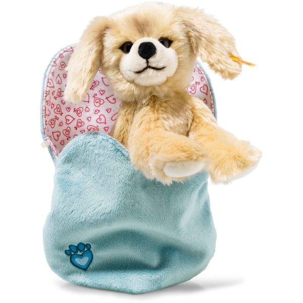 Steiff 077043 Kelly Hund im Herzbeutel, Plüsch, 22 cm, blond