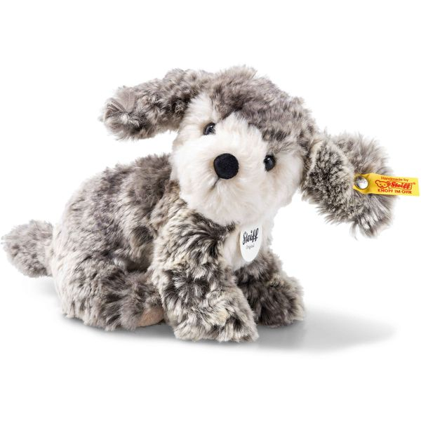 Steiff 079856 Matty Hund, Plüsch, 18 cm, grau/beige