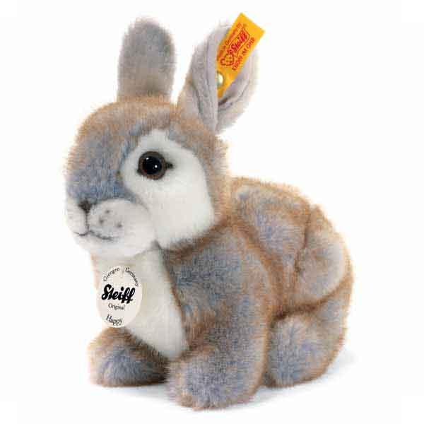 Steiff 080036 Happy Kaninchen, 18 cm, Webpelz, grau gespitzt, sitzend