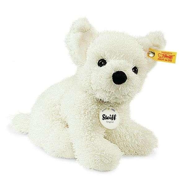 Steiff 083549 Sammy Hündchen, Plüsch, 17 cm, weiß, sitzend