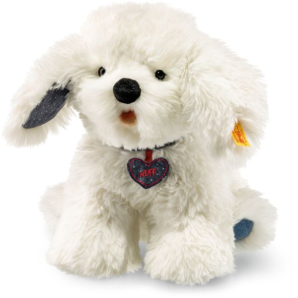 Steiff 084416 Denim Darlings Wuff Hund, Plüsch, 23 cm, weiß