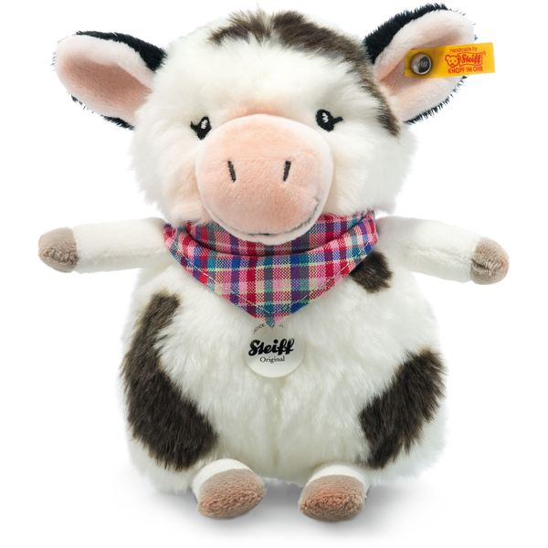Steiff 103049 Happy Farm Mini Cowaloo Kuh, Plüsch, 18 cm, weiß/schwarz gefleckt