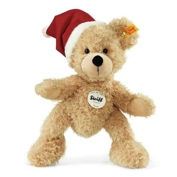 Steiff 110795 Fynn Teddybär mit Weihnachtsmannmütze, Plüsch, 24 cm, beige