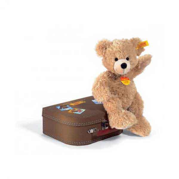 Steiff 111471 FYNN Teddybär im Koffer, 28 cm