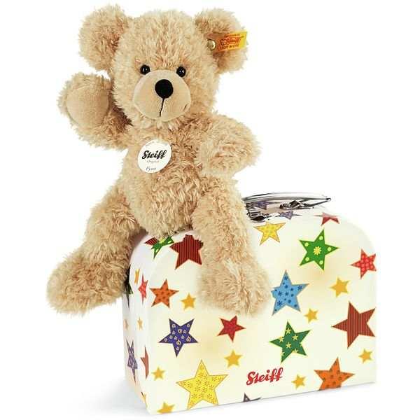 Steiff 111730 Fynn Teddybär im Koffer, Plüsch, 23 cm, beige