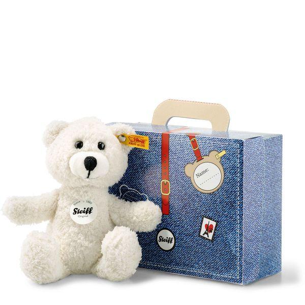Steiff 113352 Sunny Teddybär im Koffer, Plüsch, 22 cm, creme