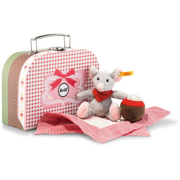 Steiff 113604 Picnic Friends Mr. Little im Koffer, Plüsch, 12 cm, grau/bunt