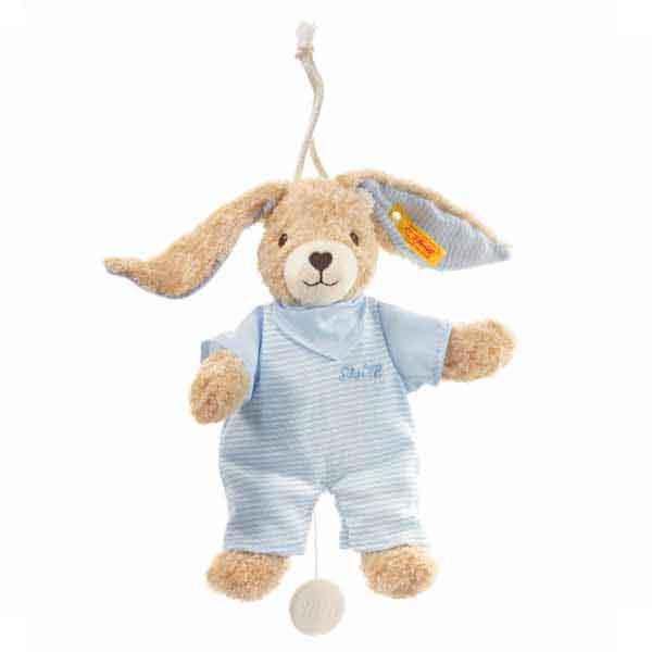 Steiff 237515 Hoppel Hase Spieluhr, 20 cm, blau