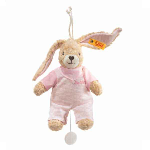 Steiff 237584 Hoppel Hase Spieluhr, 20 cm, rosa