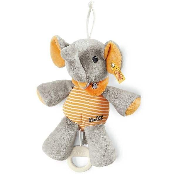Steiff 240287 Trampili Elefant Spieluhr, Plüsch, 22 cm, grau/orange, mit Musikwerk