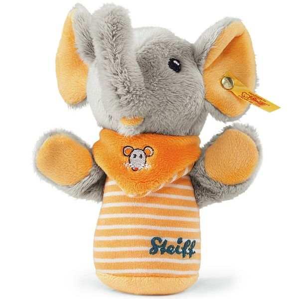 Steiff 240294 Trampili Elefant Knister Greifling, Plüsch, 14 cm, grau/orange