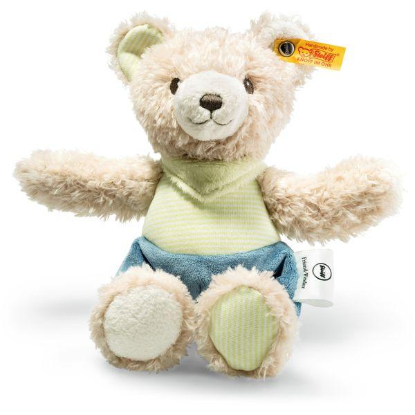 Steiff 240317 Friend-Finder Knister-Teddybär, Plüsch, 25 cm, creme/grün/petrol