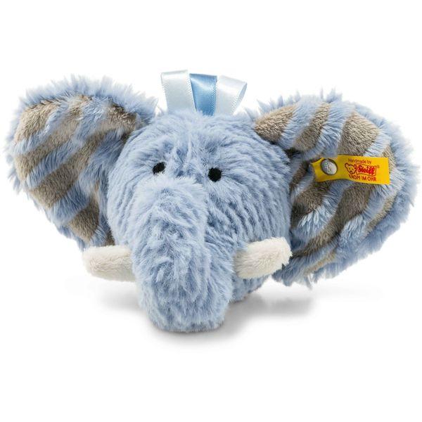 Steiff 240522 Soft Cuddly Friends Earz Elefant Rassel, Plüsch, 12 cm, blau