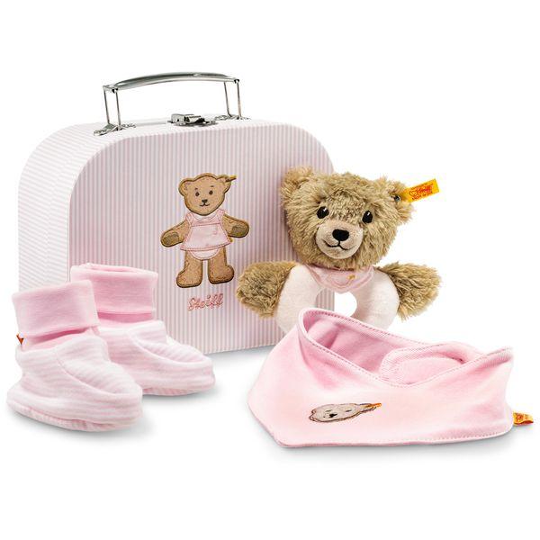Steiff 240546 Geschenkset Schlaf-gut-Bär Greifring mit Rassel, 20 cm, rosa