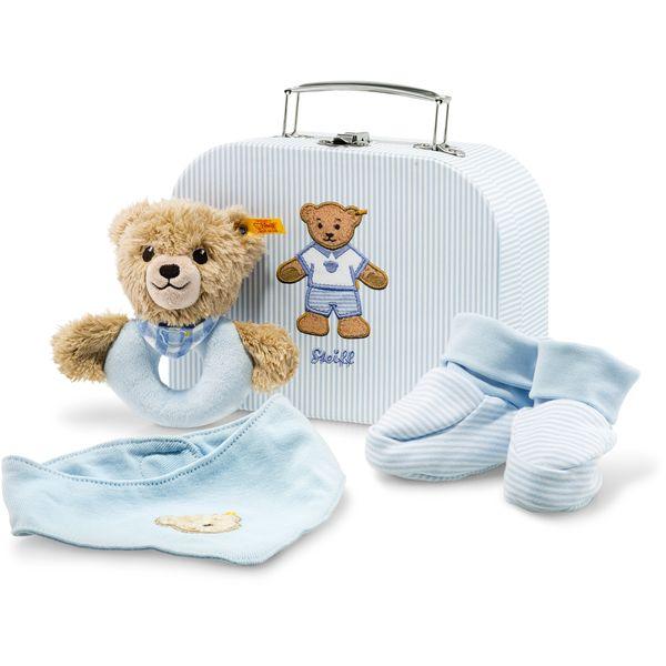 Steiff 240553 Geschenkset Schlaf-gut-Bär Greifring mit Rassel, 20 cm, blau
