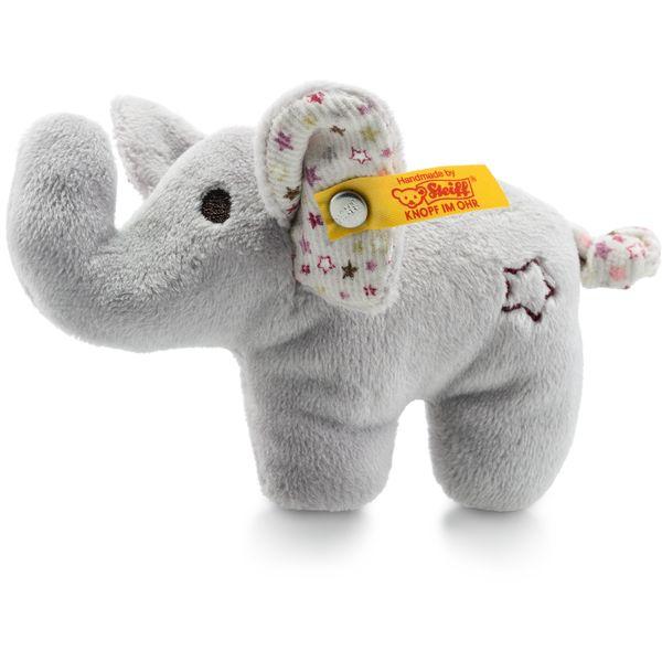 Steiff 240690 Mini Knister-Elefant mit Rassel, Plüsch, 11 cm, grau