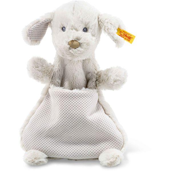 Steiff 240744 Soft Cuddly Friends Baster Hund Schmusetuch, Plüsch, 27 cm, hellgrau