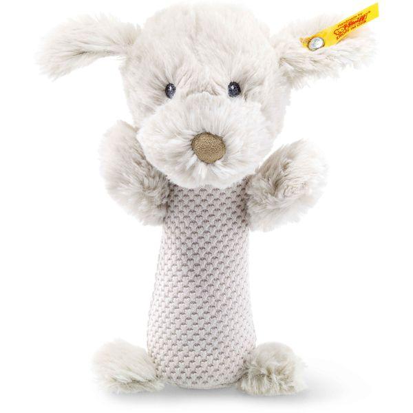 Steiff 240799 Soft Cuddly Friends Baster Hund Rassel, Plüsch, 15 cm, hellgrau
