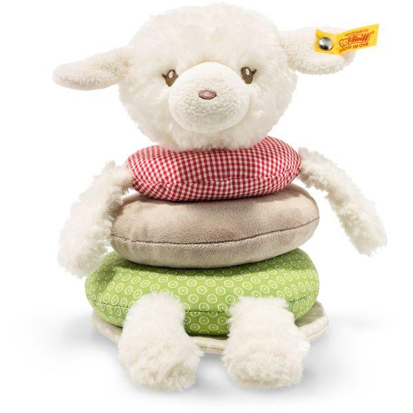 Steiff 240850 Happy Farm Lambaloo Knister-Lamm Stapelringe, Plüsch, 18 cm, creme/bunt