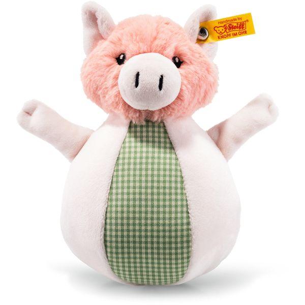 Steiff 240966 Happy Farm Piggilee Schwein Klangspiel, Plüsch, 19 cm, rosa/grün