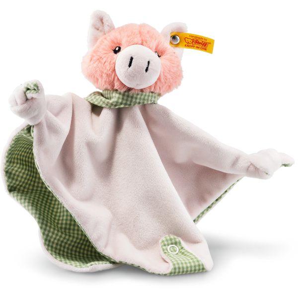 Steiff 241017 Happy Farm Piggilee Schwein Schmusetuch mit Rassel, Plüsch, 25 cm, rosa/grün