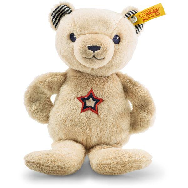 Steiff 241161 Teddybär Band Niklie Knister-Teddybär mit Rassel, Plüsch, 23 cm, beige/blau