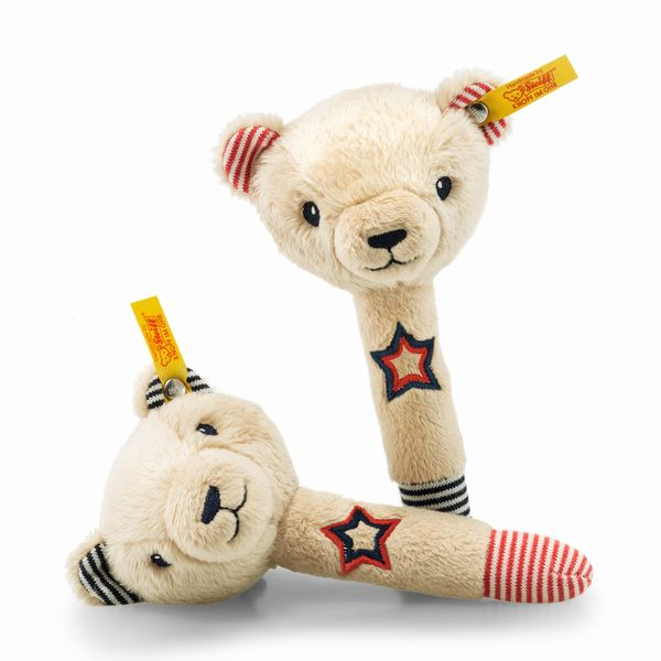 Steiff 241185 Teddybär Band Niklie Teddybär Rasselset, Plüsch, 15 cm, beige/blau/rot