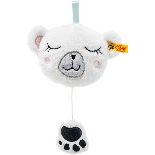 Steiff 241321 Soft Cuddly Friends Iggy Eisbär Spieluhr, Plüsch, 13 cm, weiß/bunt