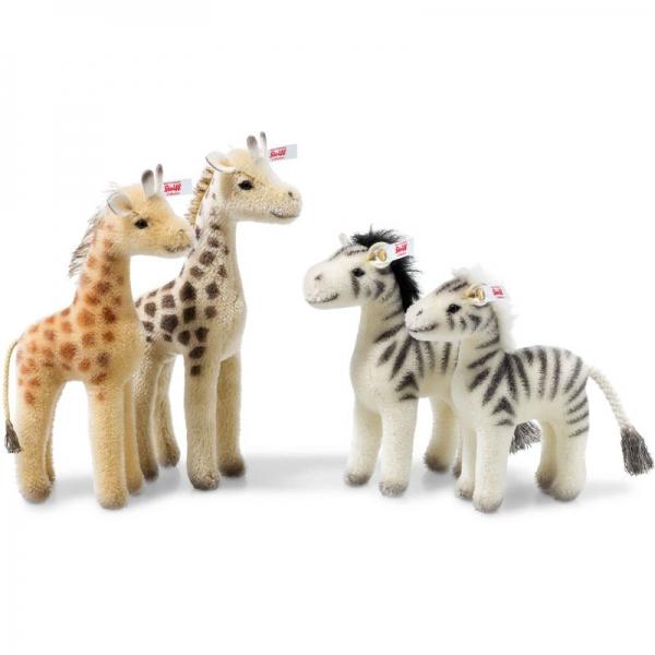 Steiff 421457 Arche Noah - Set 2, 2 Giraffen und 2 Zebras, Mohair