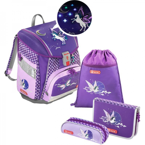 Step by Step TOUCH2 FLASH Schulranzen-Set, 4-teilig, Pegasus Purple + gratis Tuschkasten