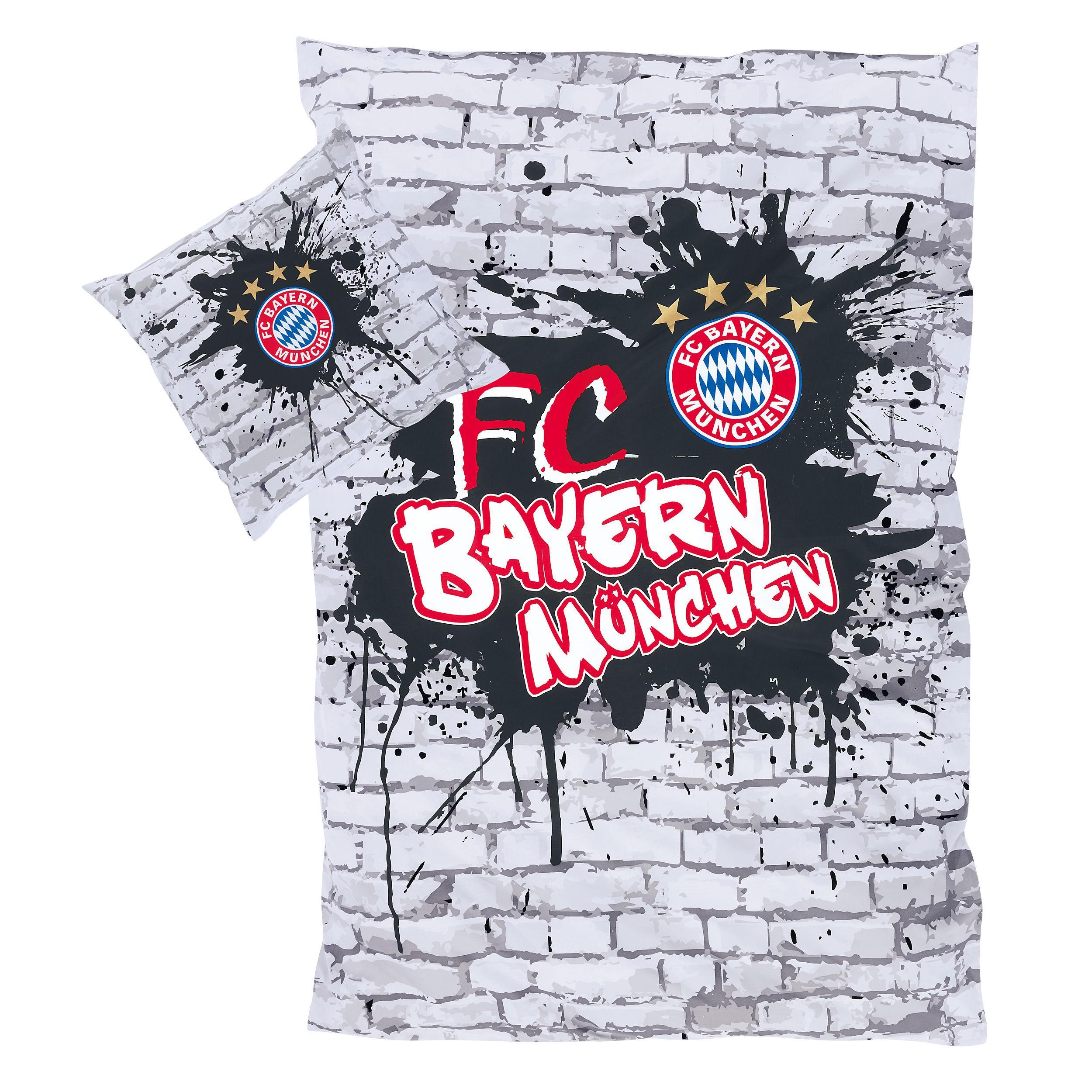 Fc Bayern Bettwäsche : fc bayern m nchen bettw sche graffiti grau 100 baumwolle ~ Watch28wear.com Haus und Dekorationen